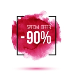 Discount 90 percent off sale on pink watercolour vector