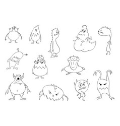 drawing set funny cute halloween monsters vector image