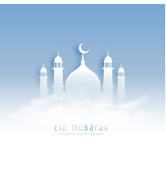 Eid mubarak background with mosque and clouds vector