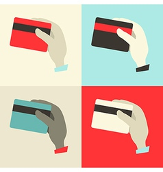 Flat Design Hands with Credit Cards Set vector image