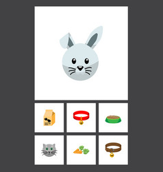 Flat icon animal set of bunny nutrition box vector