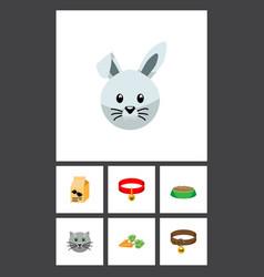 flat icon animal set of bunny nutrition box vector image vector image