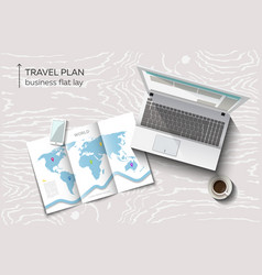 flat lay concept of business travel planning vector image