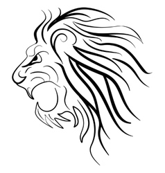 Graphic silhouette roaring lion vector image