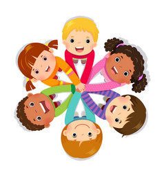 Group of children putting hands together vector