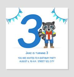 happy birthday 3 years banner template birthday vector image