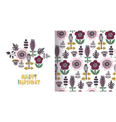 happy birthday floral card in scandinavian style vector image