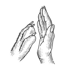 High five with dog sketch engraving vector