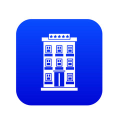 hotel building icon digital blue vector image