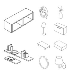 isolated object of bedroom and room logo set of vector image