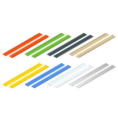 Isometric inch and metric rulers centimeters and vector