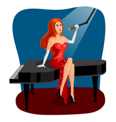 jazz singer woman on grand piano cartoon vector image