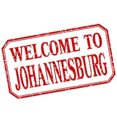 Johannesburg - welcome red vintage isolated label vector