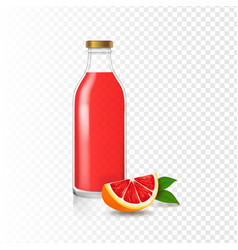 juice grapefruit bottle glass realistic vector image