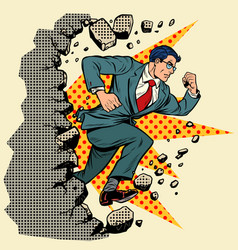 Leader businessman breaks a wall destroys vector