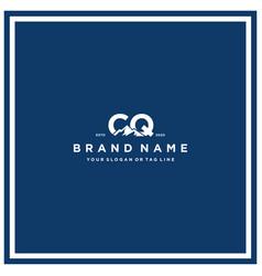 Letter cq mountain logo design vector