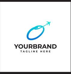 Letter o logo airline business identity travel vector