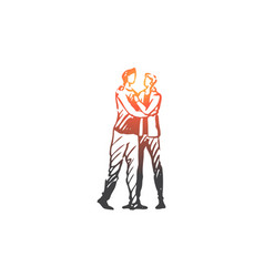 Lgbt gay couple romantic together vector