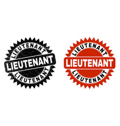Lieutenant black rosette watermark with unclean vector