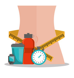 Lose weight body wrapped measuring tape diet vector