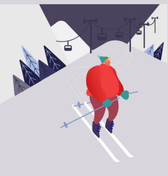 man skiing in mountains people character vector image