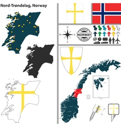 Map of Nord Trondelag vector