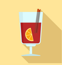 mulled wine icon flat style vector image