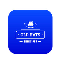Old hat icon blue vector