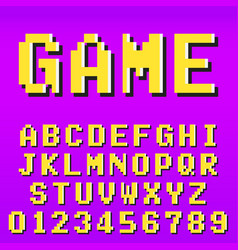 Old video game alphabet font template set of vector