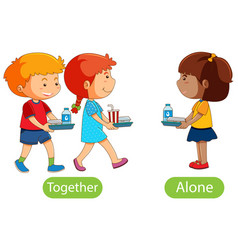 Opposite words with together and alone vector