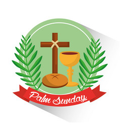 palm sunday badge cross bread cup branch poster vector image