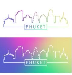 phuket city skyline colorful linear style vector image