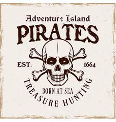 pirate skull and crossed bones emblem in vector image