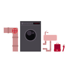 Plumber tools and objects - sewer pipe wash bowl vector