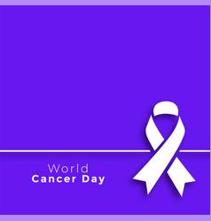 Purple world cancer day minimal poster design vector