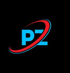 pz p z letter logo design initial letter pz vector image