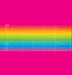 rainbow creative calendar 2018 mondays selected vector image