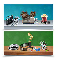 Realistic cinema banners set vector