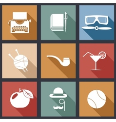 Retro flat design hipster detective icons vector