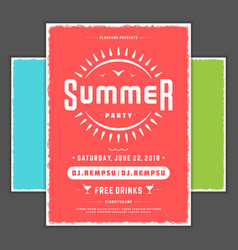 Retro summer party design poster or flyer night vector
