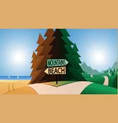 Road junction and beach or mountains direction vector