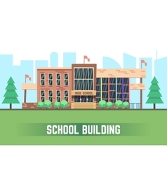 School building flat education concept vector image