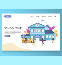 school time website landing page design vector image