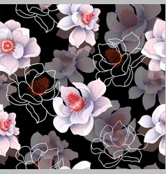 seamless pattern with magnolia flowers vector image