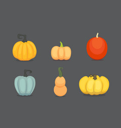 Set cartoon pumpkin isolated vector