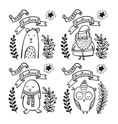 Set of christmas greeting cards vector