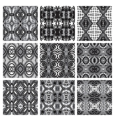 set of grey different seamless vintage geometric vector image