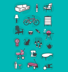 Set of retro home icons vector