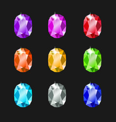 Set oval jewels different colors gemstones vector