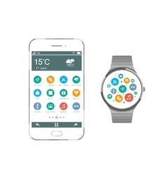Set Smartphone and Smart Watch vector image